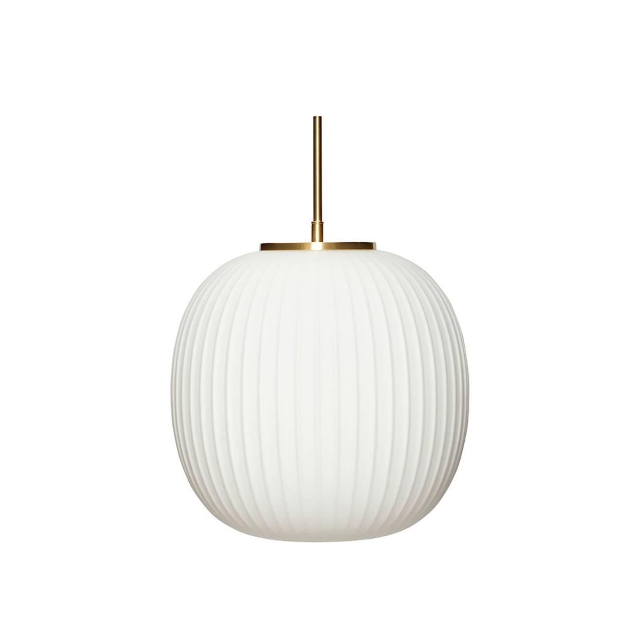 Taklampe i hvit glass - Hübsch